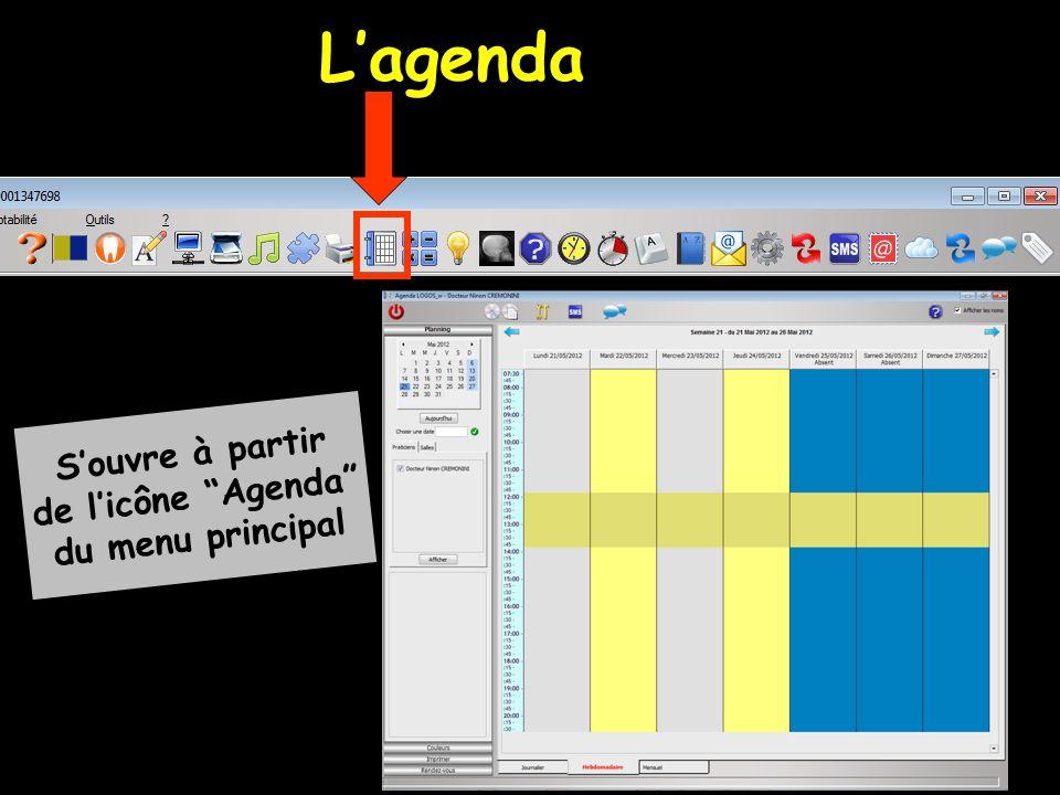 """L'agenda S'ouvre à partir de l'icône """"Agenda"""" du menu principal"""