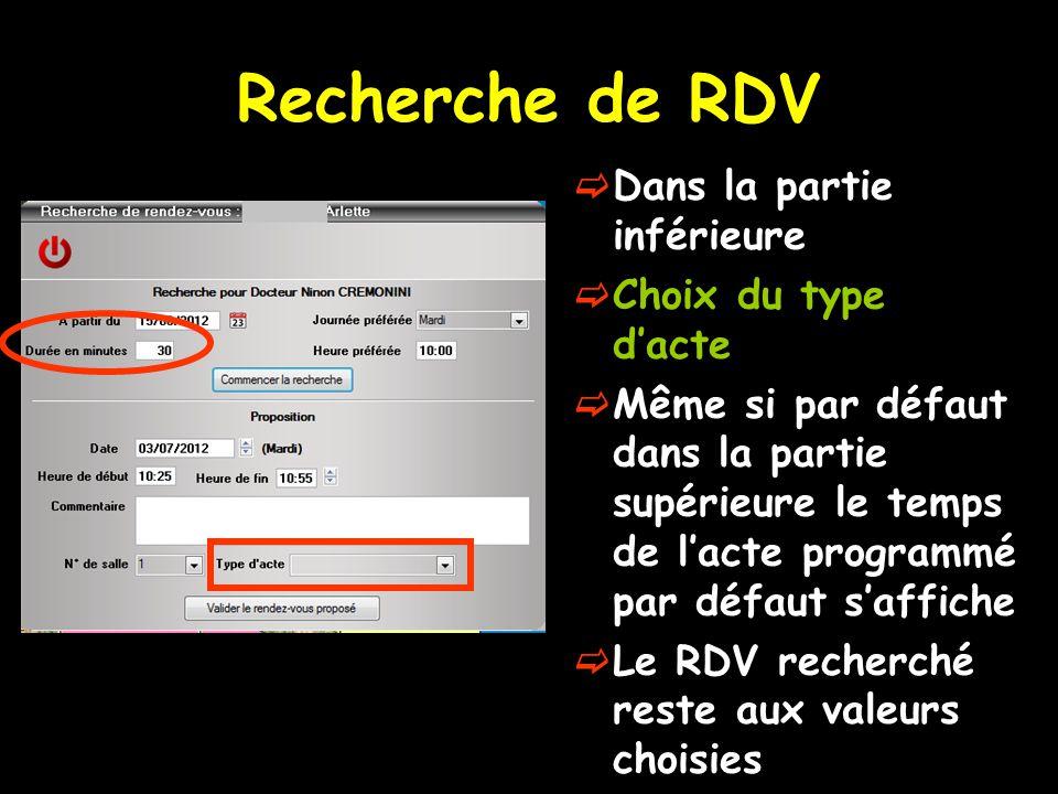 Recherche de RDV  Dans la partie inférieure  Choix du type d'acte  Même si par défaut dans la partie supérieure le temps de l'acte programmé par dé