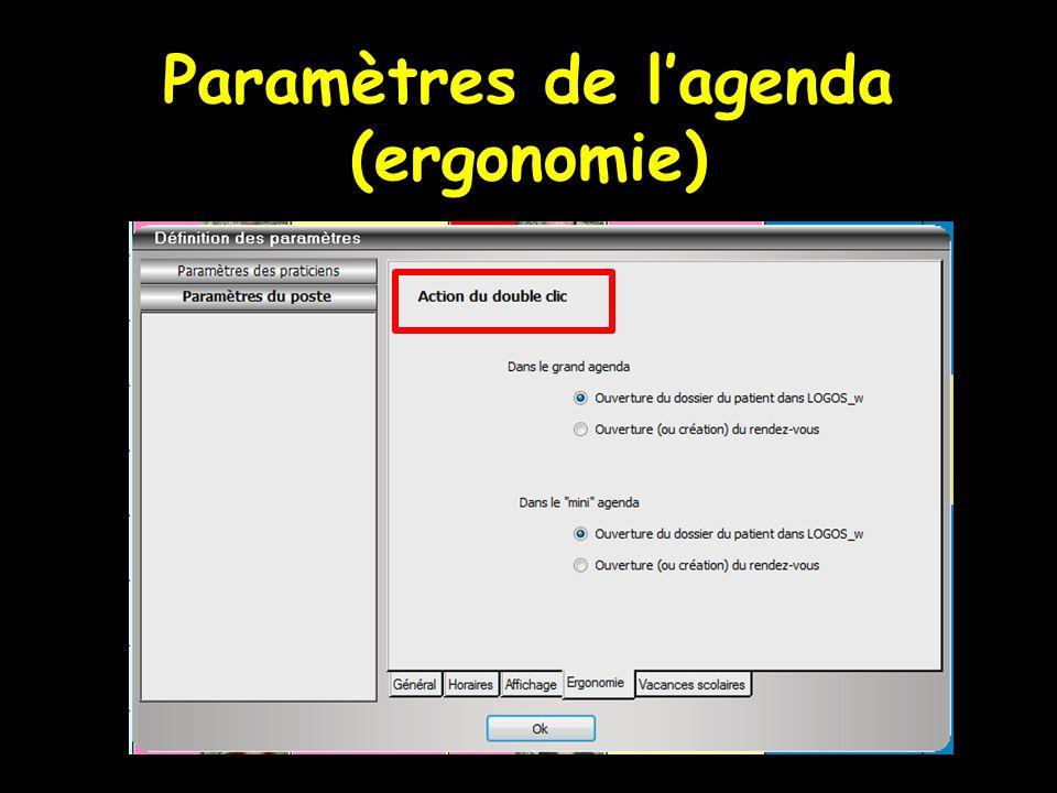 Paramètres de l'agenda (ergonomie)