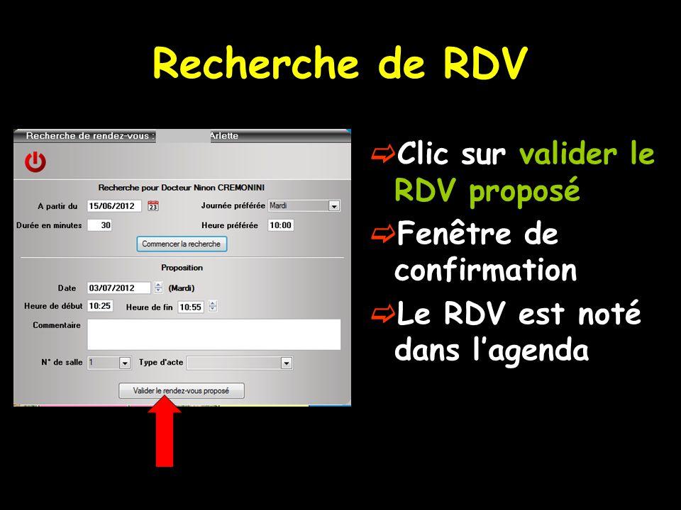 Recherche de RDV  Clic sur valider le RDV proposé  Fenêtre de confirmation  Le RDV est noté dans l'agenda