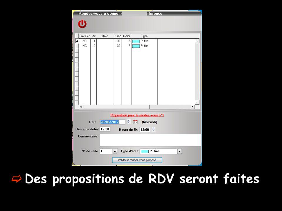  Des propositions de RDV seront faites