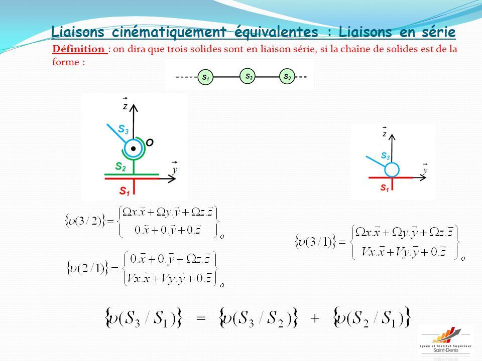 Liaisons cinématiquement équivalentes : Liaisons en série Définition : on dira que trois solides sont en liaison série, si la chaîne de solides est de