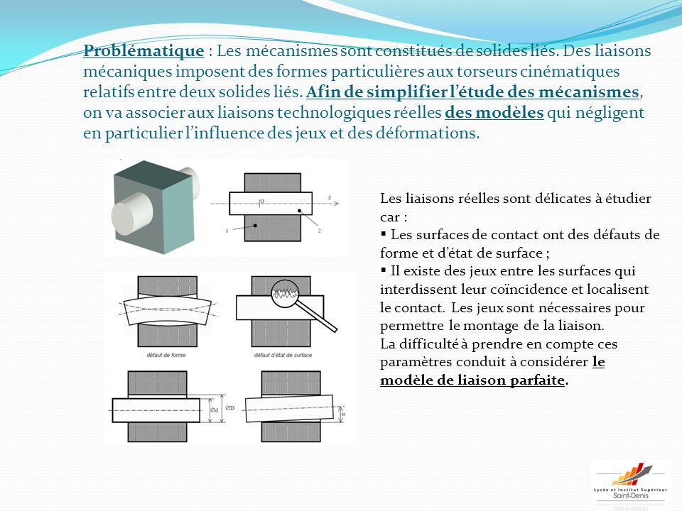 Problématique : Les mécanismes sont constitués de solides liés. Des liaisons mécaniques imposent des formes particulières aux torseurs cinématiques re