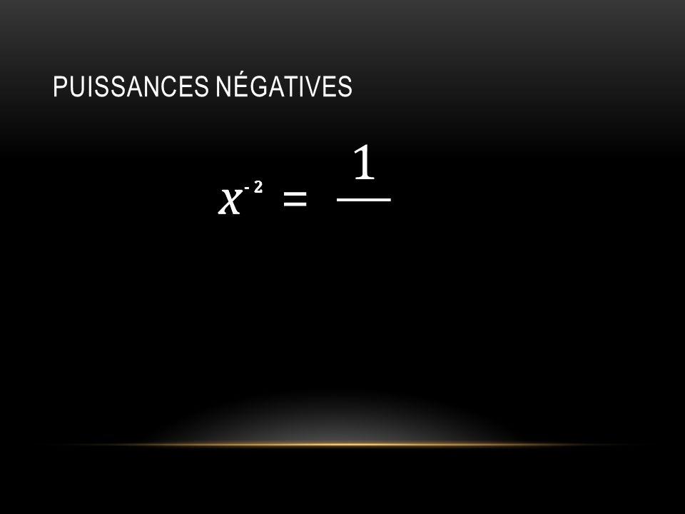 PUISSANCES NÉGATIVES x 2 - = 1 x 2-