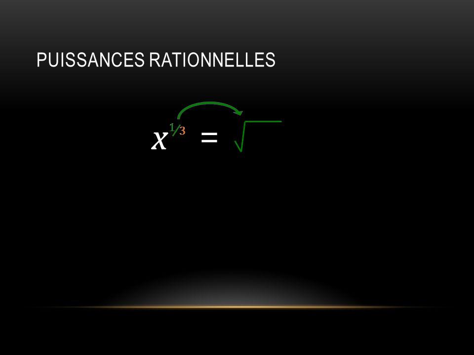 PUISSANCES RATIONNELLES x 1 = x 3 1 3