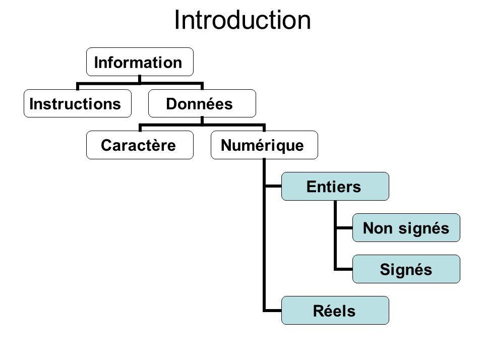 Introduction Information InstructionsDonnées CaractèreNumérique Entiers Non signés Signés Réels