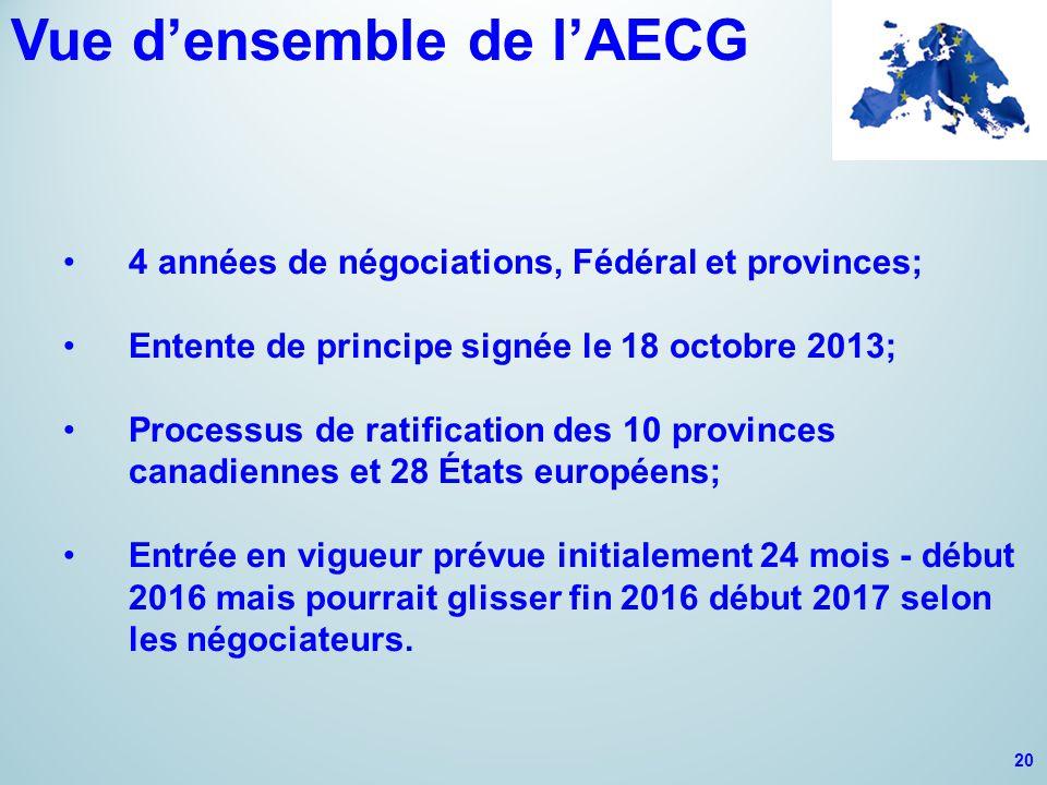 Vue d'ensemble de l'AECG 4 années de négociations, Fédéral et provinces; Entente de principe signée le 18 octobre 2013; Processus de ratification des 10 provinces canadiennes et 28 États européens; Entrée en vigueur prévue initialement 24 mois - début 2016 mais pourrait glisser fin 2016 début 2017 selon les négociateurs.