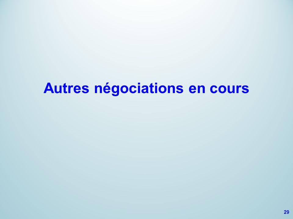 Autres négociations en cours 29