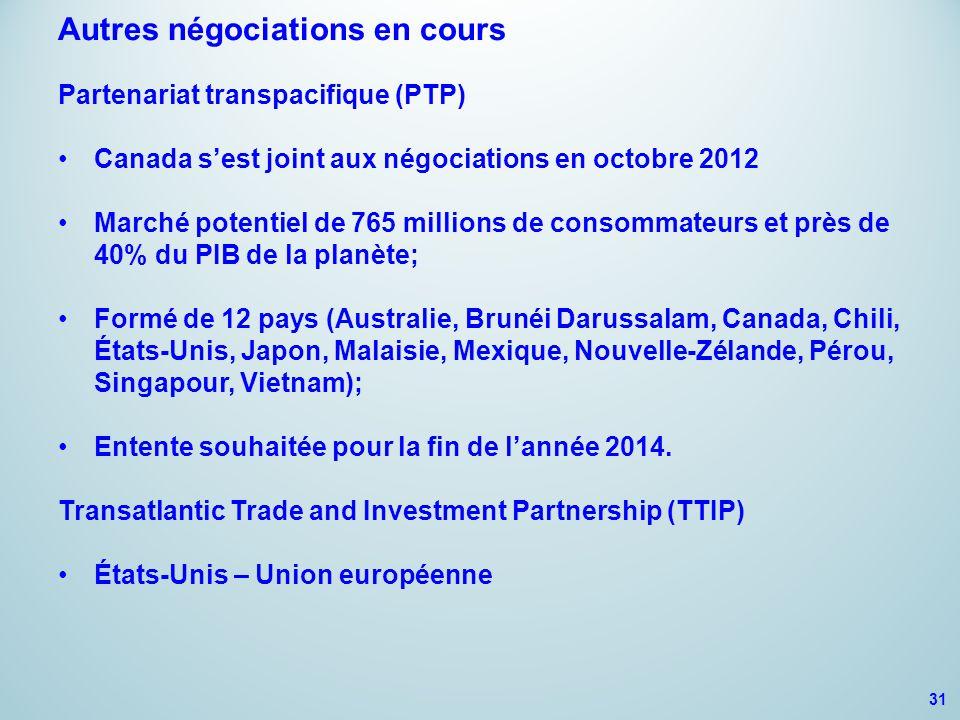 Produits de la mer 31 Autres négociations en cours Partenariat transpacifique (PTP) Canada s'est joint aux négociations en octobre 2012 Marché potentiel de 765 millions de consommateurs et près de 40% du PIB de la planète; Formé de 12 pays (Australie, Brunéi Darussalam, Canada, Chili, États-Unis, Japon, Malaisie, Mexique, Nouvelle-Zélande, Pérou, Singapour, Vietnam); Entente souhaitée pour la fin de l'année 2014.