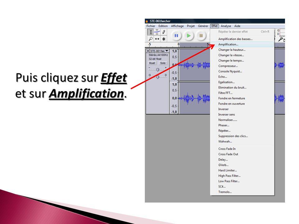 Puis cliquez sur Effet et sur Amplification.