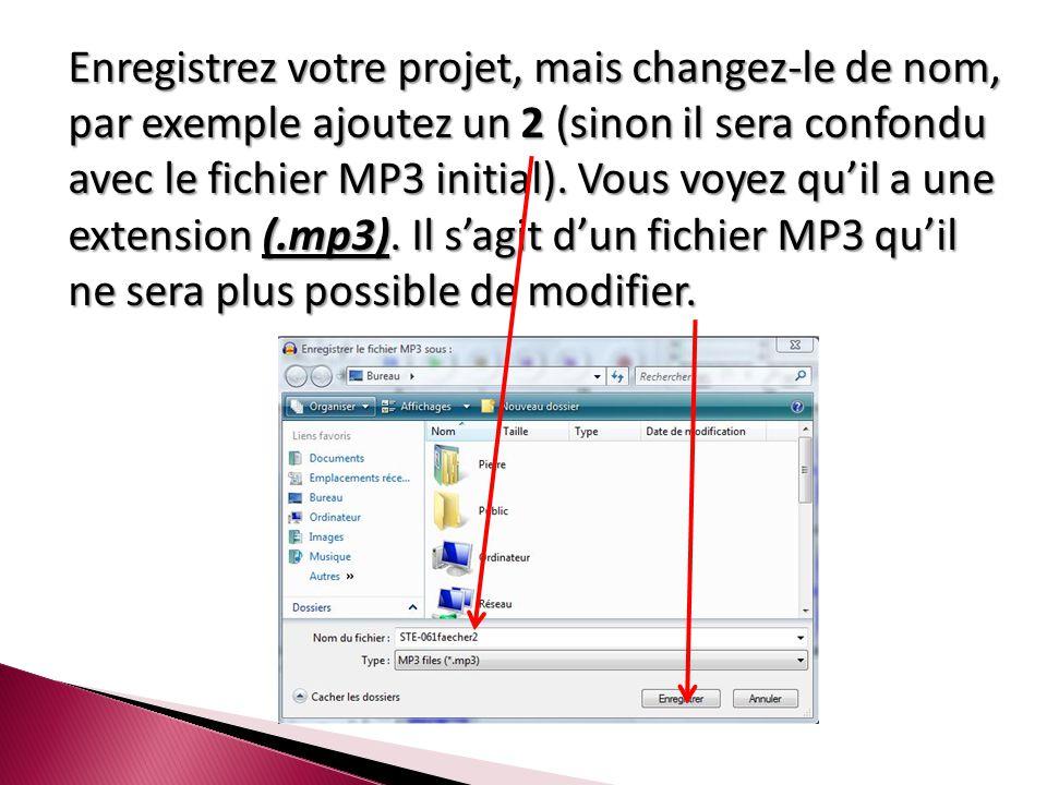 Enregistrez votre projet, mais changez-le de nom, par exemple ajoutez un 2 (sinon il sera confondu avec le fichier MP3 initial).