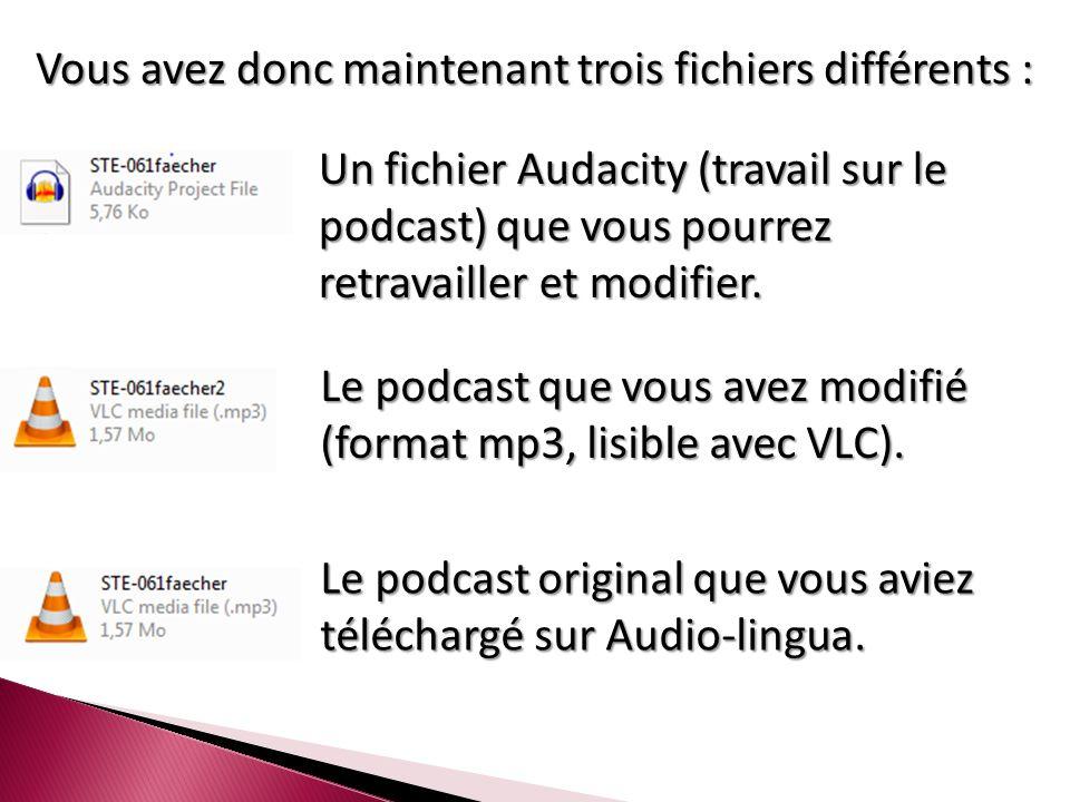 Vous avez donc maintenant trois fichiers différents : Un fichier Audacity (travail sur le podcast) que vous pourrez retravailler et modifier.