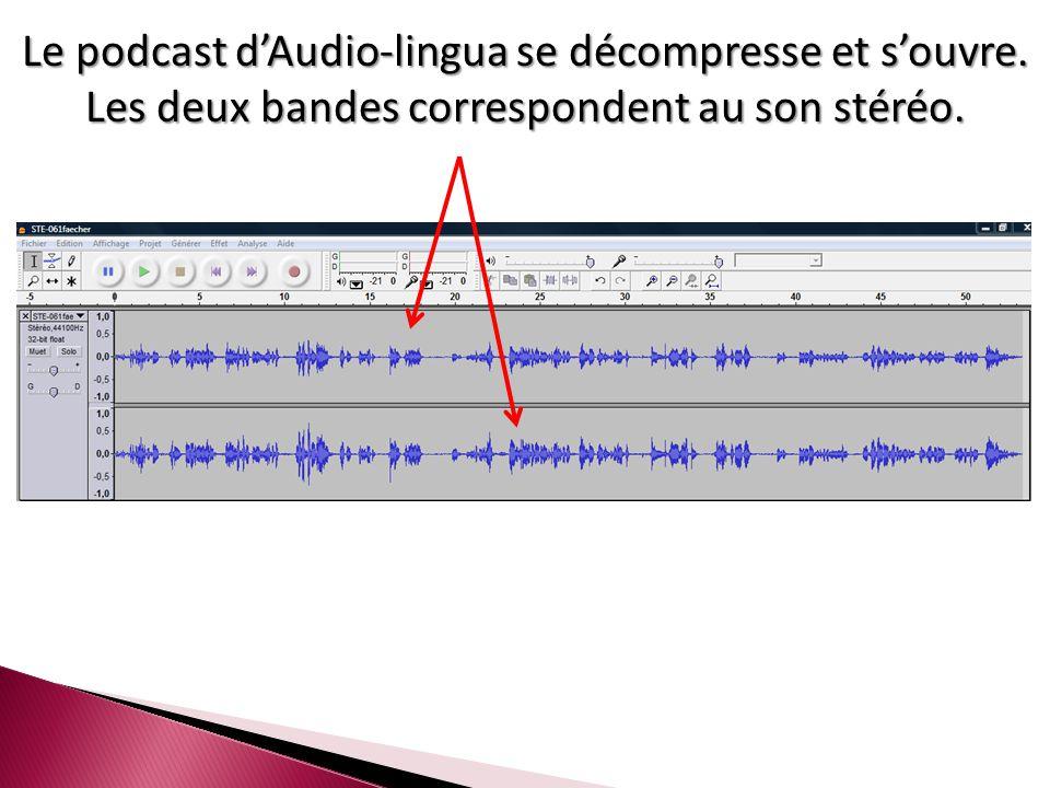 Le podcast d'Audio-lingua se décompresse et s'ouvre. Les deux bandes correspondent au son stéréo.