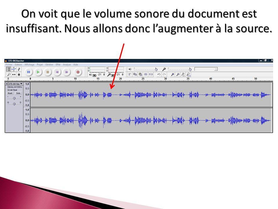 On voit que le volume sonore du document est insuffisant. Nous allons donc l'augmenter à la source.