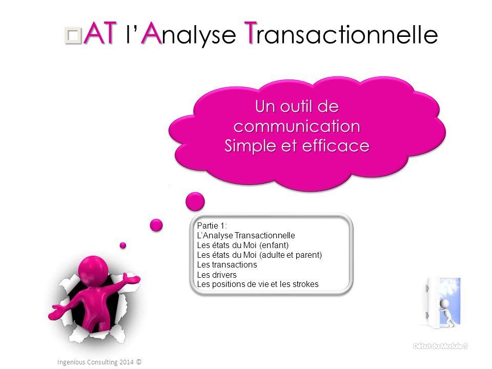  ATAT  AT l' A nalyse T ransactionnelle Un outil de communication Simple et efficace Un outil de communication Simple et efficace Ingenious Consulti