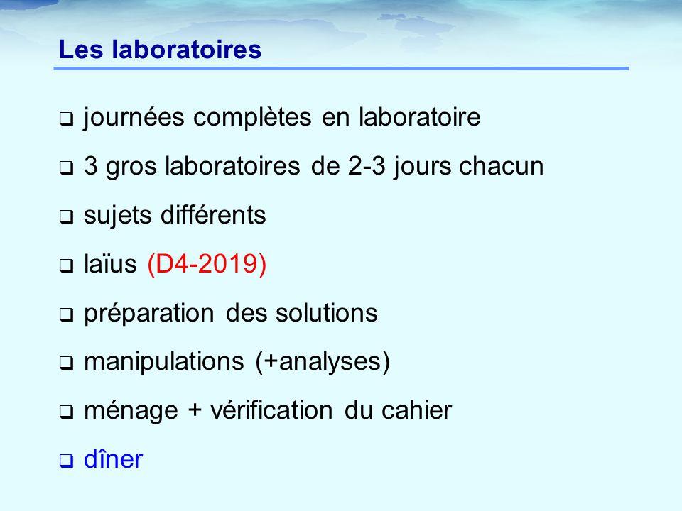 Les laboratoires  journées complètes en laboratoire  3 gros laboratoires de 2-3 jours chacun  sujets différents  laïus (D4-2019)  préparation des solutions  manipulations (+analyses)  ménage + vérification du cahier  dîner