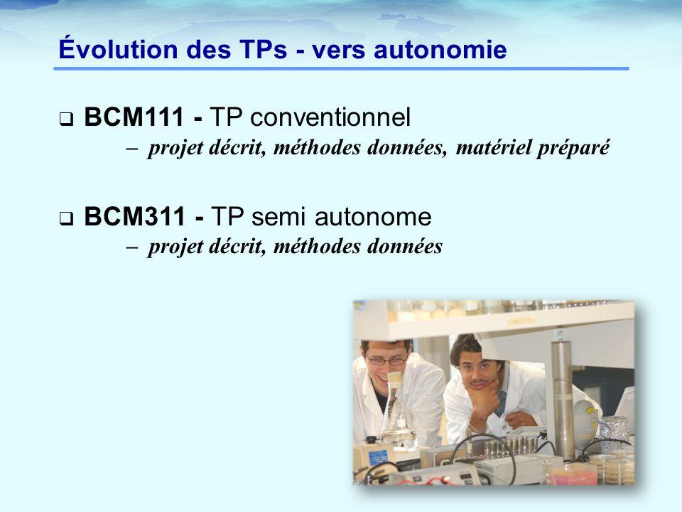 Évolution des TPs - vers autonomie  BCM111 - TP conventionnel – projet décrit, méthodes données, matériel préparé  BCM311 - TP semi autonome – projet décrit, méthodes données
