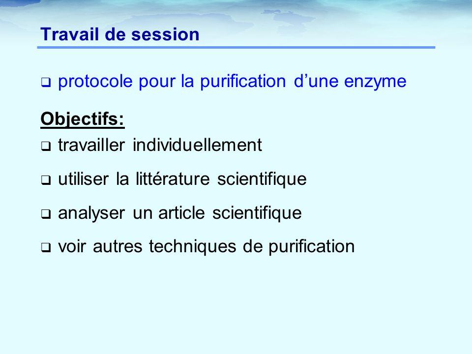 Travail de session  protocole pour la purification d'une enzyme Objectifs:  travailler individuellement  utiliser la littérature scientifique  analyser un article scientifique  voir autres techniques de purification