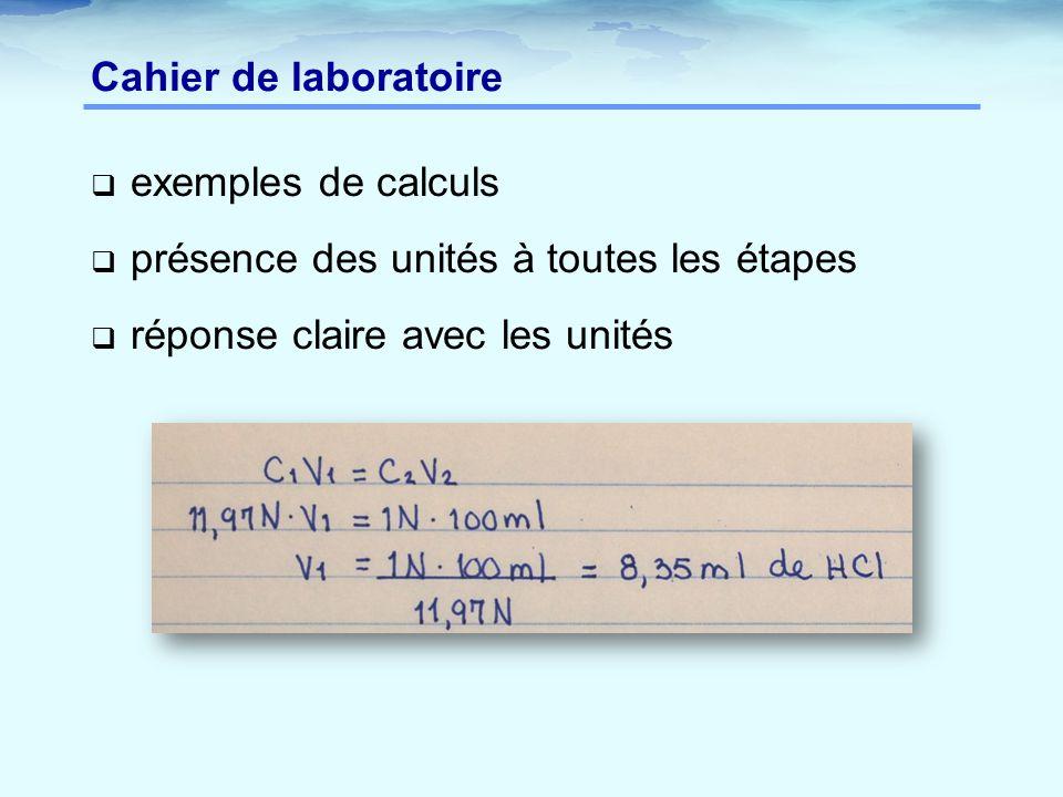 Cahier de laboratoire  exemples de calculs  présence des unités à toutes les étapes  réponse claire avec les unités