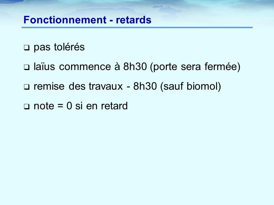 Fonctionnement - retards  pas tolérés  laïus commence à 8h30 (porte sera fermée)  remise des travaux - 8h30 (sauf biomol)  note = 0 si en retard