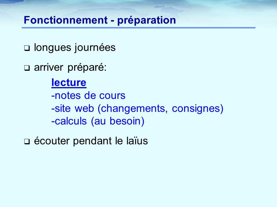 Fonctionnement - préparation  longues journées  arriver préparé: lecture -notes de cours -site web (changements, consignes) -calculs (au besoin)  écouter pendant le laїus