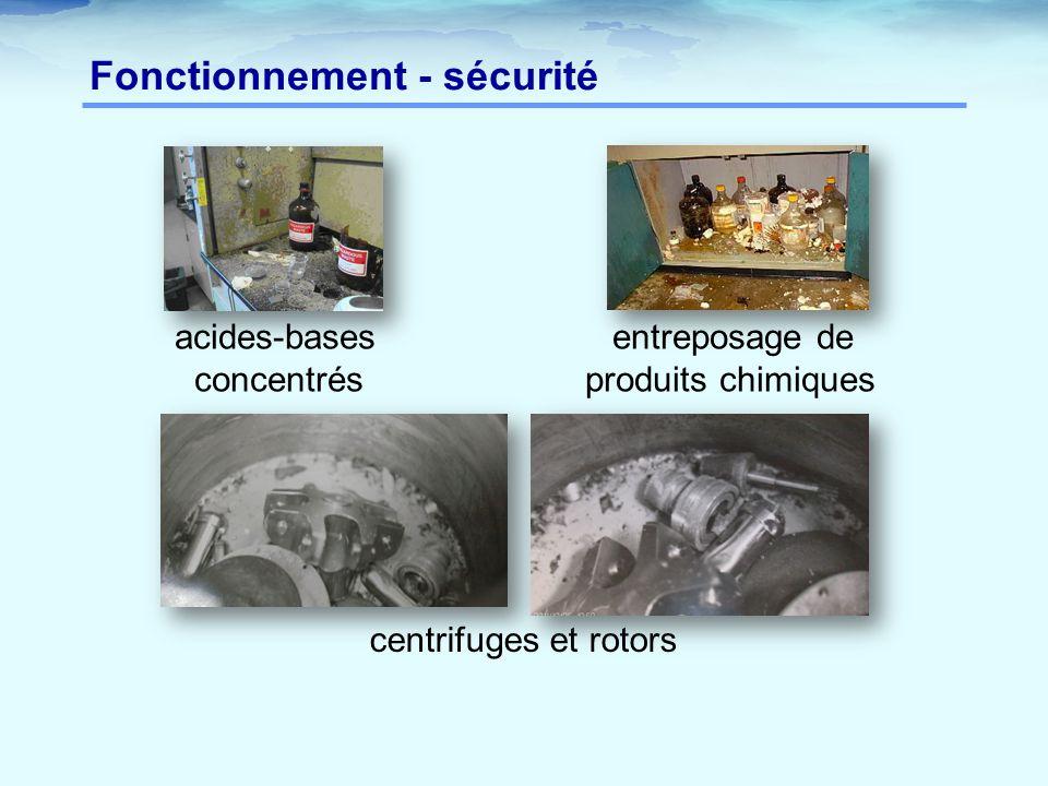 Fonctionnement - sécurité acides-bases entreposage de concentrés produits chimiques centrifuges et rotors