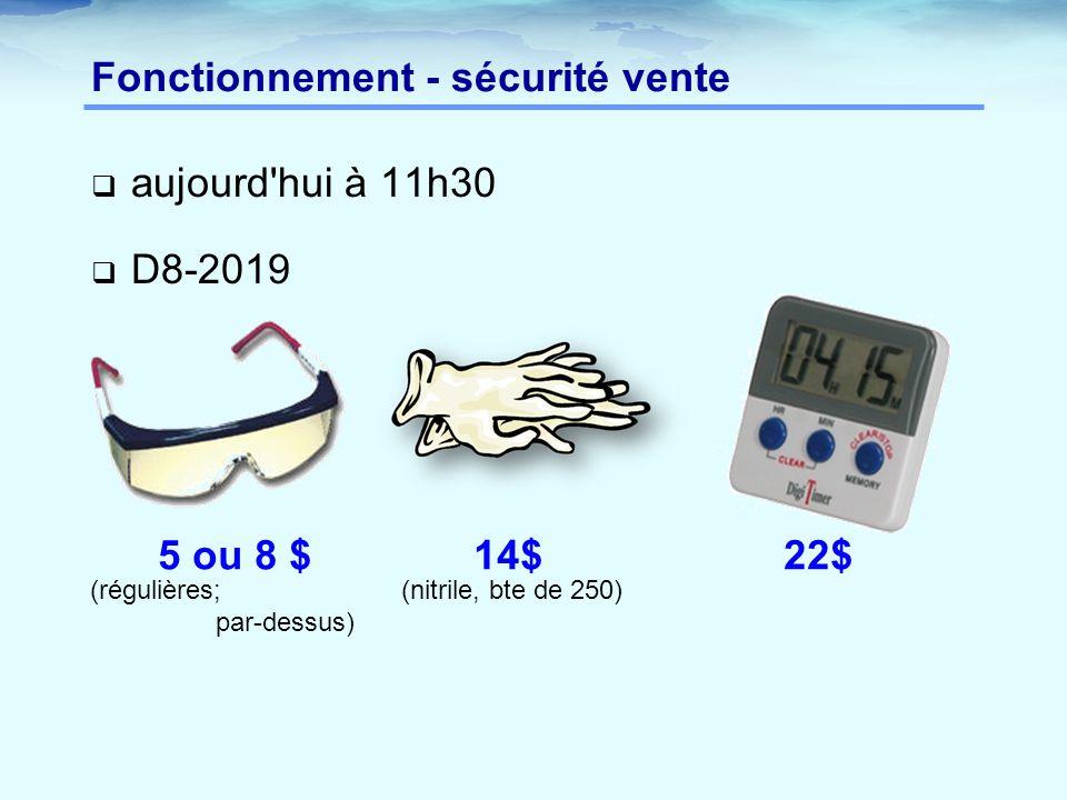  aujourd hui à 11h30  D8-2019 Fonctionnement - sécurité vente 5 ou 8 $ 14$ 22$ (nitrile, bte de 250)(régulières; par-dessus)