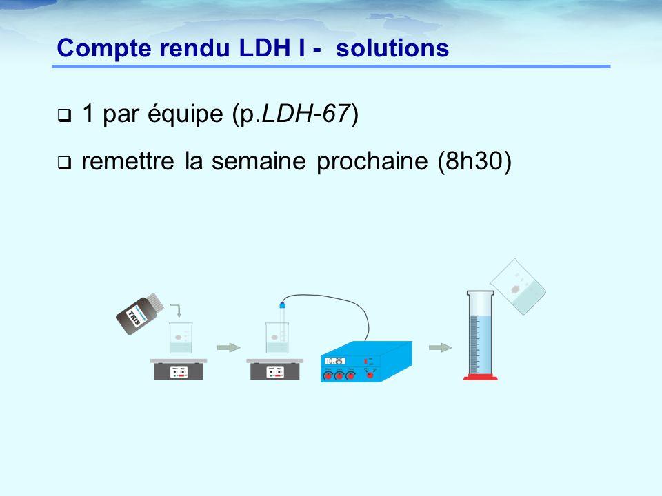  1 par équipe (p.LDH-67)  remettre la semaine prochaine (8h30) Compte rendu LDH I - solutions