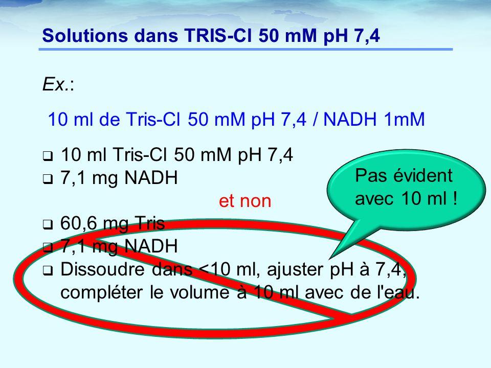 Ex.: 10 ml de Tris-Cl 50 mM pH 7,4 / NADH 1mM  10 ml Tris-Cl 50 mM pH 7,4  7,1 mg NADH et non  60,6 mg Tris  7,1 mg NADH  Dissoudre dans <10 ml, ajuster pH à 7,4, compléter le volume à 10 ml avec de l eau.