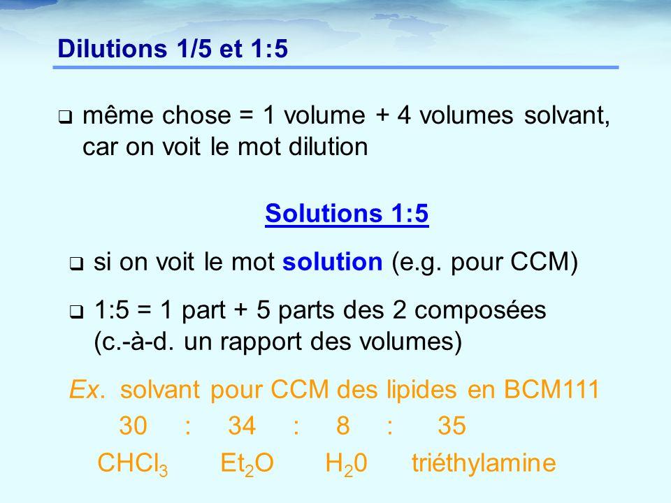  même chose = 1 volume + 4 volumes solvant, car on voit le mot dilution Dilutions 1/5 et 1:5 Solutions 1:5  si on voit le mot solution (e.g.