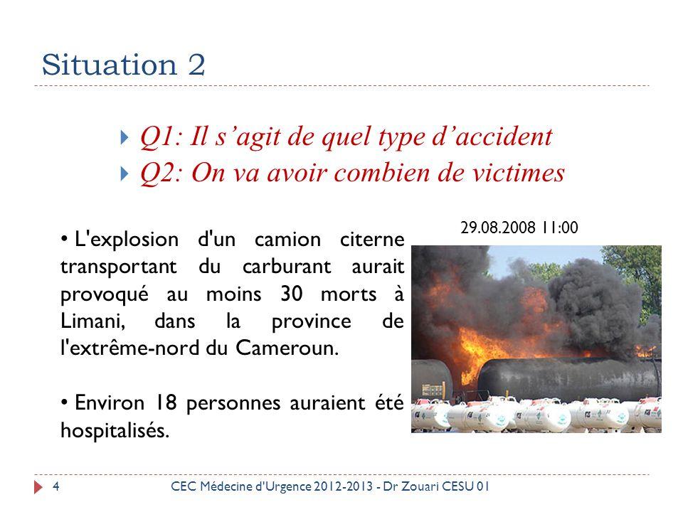 Situation 3 5 Q1: Il s'agit de quel type d'accident Q2: On va avoir combien de victimes Q3: Comment agir devant CEC Médecine d Urgence 2012-2013 - Dr Zouari CESU 01