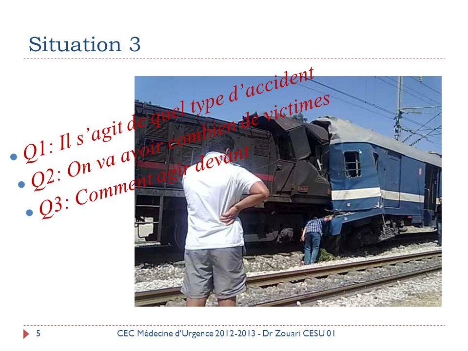 Situation 4 6 Q1: Il s'agit de quel type d'accident Q2: On va avoir combien de victimes Q3: Comment agir devant CEC Médecine d Urgence 2012-2013 - Dr Zouari CESU 01