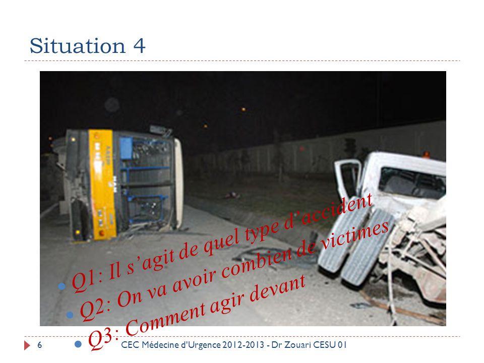 Premièrement 27  Efforcez-vous d obturer portes et soupiraux ;  Montez dans les étages toutes les denrées consommables (eau, nourriture) ;  Rangez les produits toxiques à l abri des eaux ;  Coupez le gaz et l électricité ; CEC Médecine d Urgence 2012-2013 - Dr Zouari CESU 01