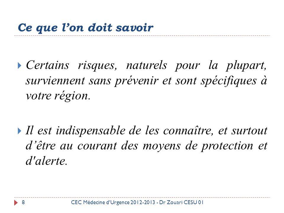 29CEC Médecine d Urgence 2012-2013 - Dr Zouari CESU 01