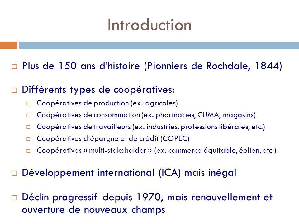 Introduction  Plus de 150 ans d'histoire (Pionniers de Rochdale, 1844)  Différents types de coopératives:  Coopératives de production (ex. agricole