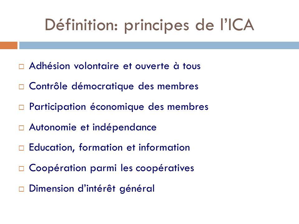 Définition: principes de l'ICA  Adhésion volontaire et ouverte à tous  Contrôle démocratique des membres  Participation économique des membres  Autonomie et indépendance  Education, formation et information  Coopération parmi les coopératives  Dimension d'intérêt général