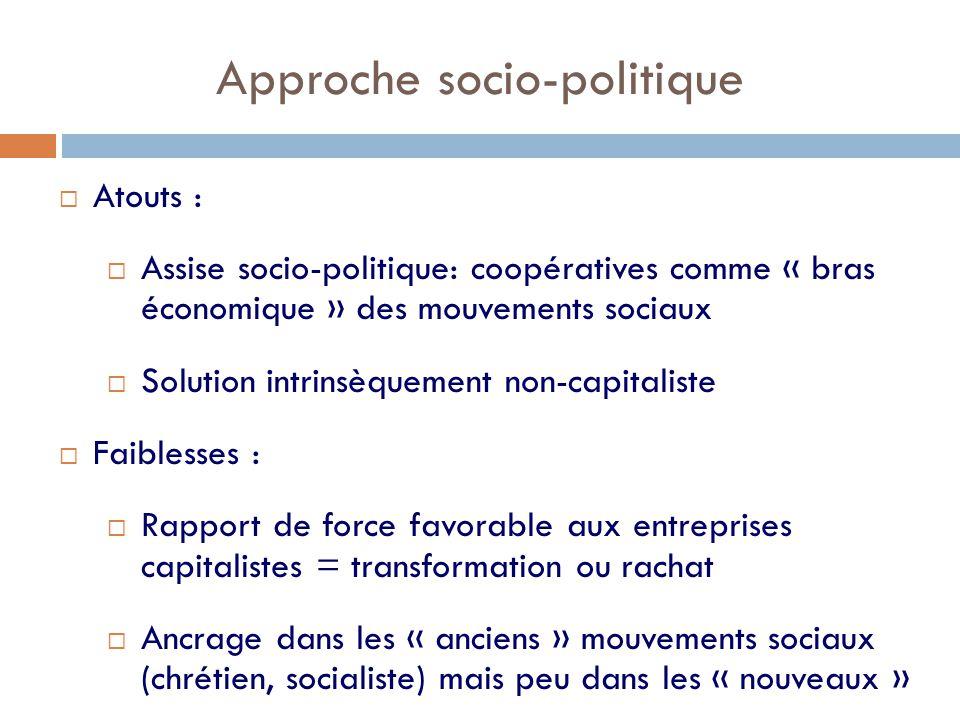 Approche socio-politique  Atouts :  Assise socio-politique: coopératives comme « bras économique » des mouvements sociaux  Solution intrinsèquement