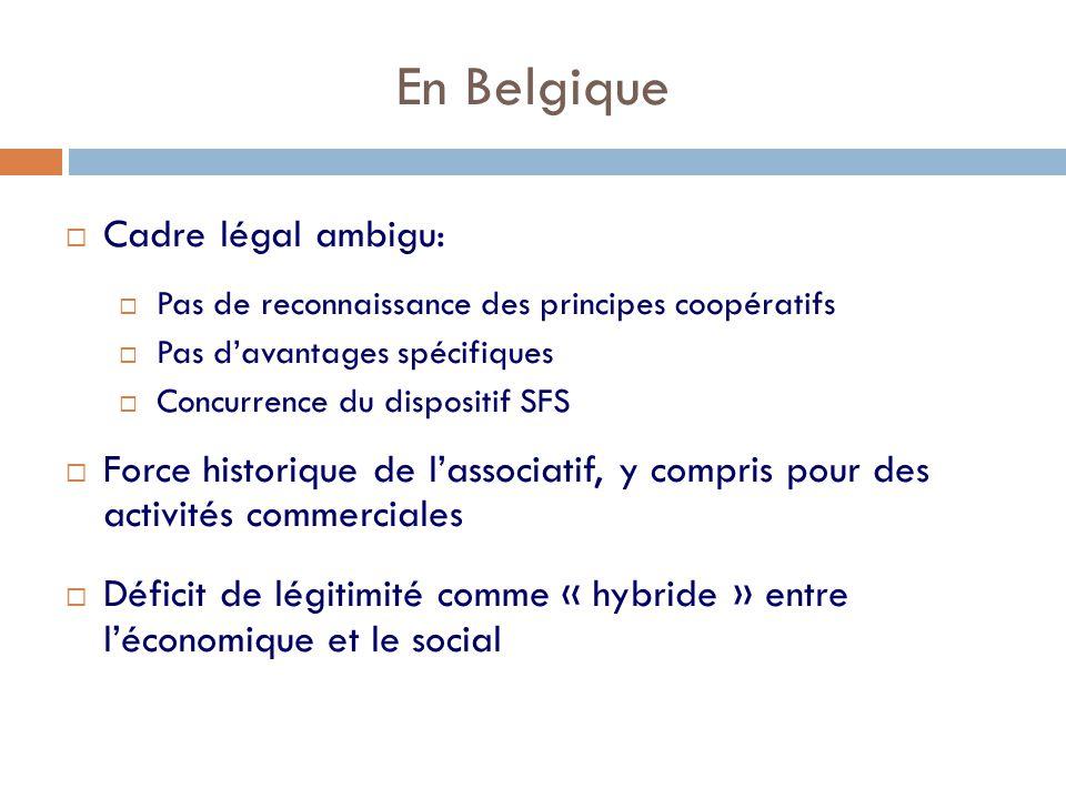 En Belgique  Cadre légal ambigu:  Pas de reconnaissance des principes coopératifs  Pas d'avantages spécifiques  Concurrence du dispositif SFS  Force historique de l'associatif, y compris pour des activités commerciales  Déficit de légitimité comme « hybride » entre l'économique et le social