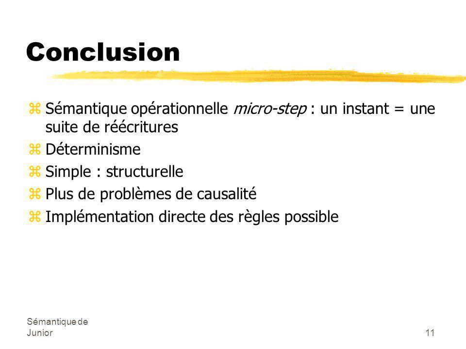 Sémantique de Junior11 Conclusion zSémantique opérationnelle micro-step : un instant = une suite de réécritures zDéterminisme zSimple : structurelle zPlus de problèmes de causalité zImplémentation directe des règles possible