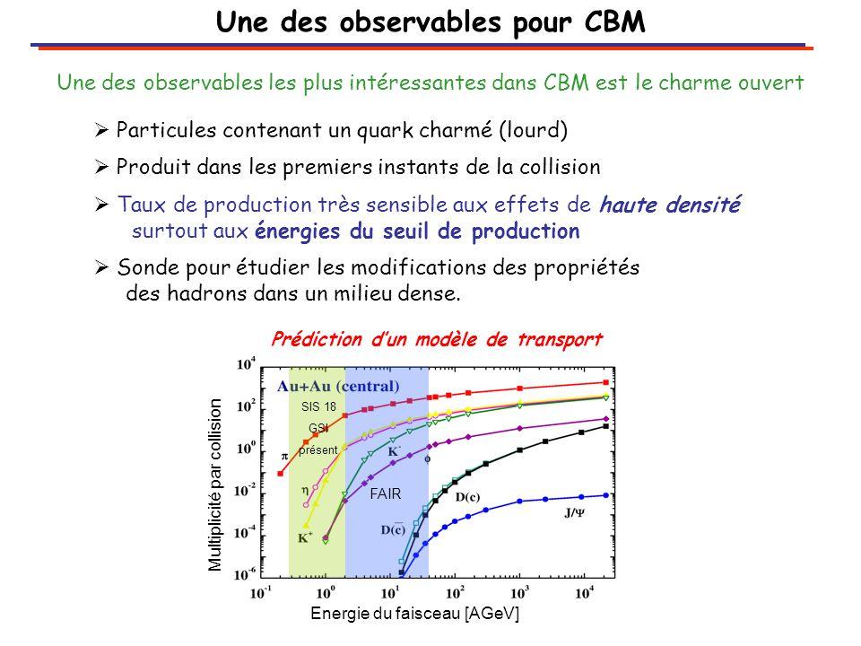  Particules contenant un quark charmé (lourd)  Produit dans les premiers instants de la collision  Taux de production très sensible aux effets de haute densité surtout aux énergies du seuil de production  Sonde pour étudier les modifications des propriétés des hadrons dans un milieu dense.