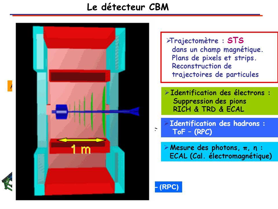 Vertex primaire Vertex secondaire Detecteur1 Detecteur2 Cible (Au) z On a besoin de détecteurs avec 1)Excellente résolution spatiale 2) Très faible épaisseur (diffusion multiple) 3) Bonne résistance aux radiations ~10 13 n eq /cm² Détection des mésons charmés D 0 (cū), c  = 123  m D 0  K -  + (BR =0.0383) 0 Détecteur de vertex proposé : Capteurs CMOS Monolithic Active Pixel Sensor: Résolution spatiale: ~ 3  m Epaisseur : ~ 0.2 % X 0 ( ~ 200  m Si eq.) Radio résistance: ~10 13 n eq /cm² ( durée de vie ) ( coll.