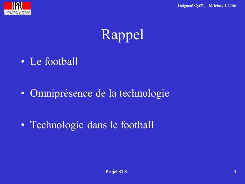 Guignard Cyrille, Meichtry Cédric Projet STS3 Rappel Le football Omniprésence de la technologie Technologie dans le football