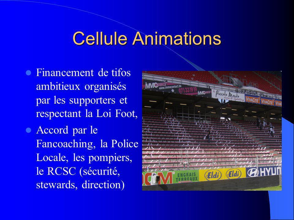 Cellule Animations Financement de tifos ambitieux organisés par les supporters et respectant la Loi Foot, Accord par le Fancoaching, la Police Locale,