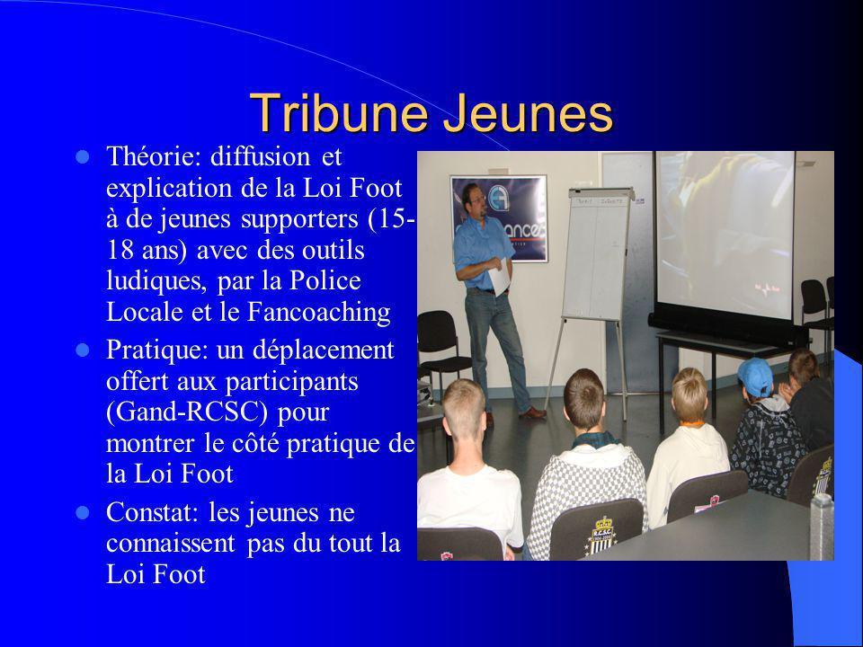 Tribune Jeunes Théorie: diffusion et explication de la Loi Foot à de jeunes supporters (15- 18 ans) avec des outils ludiques, par la Police Locale et