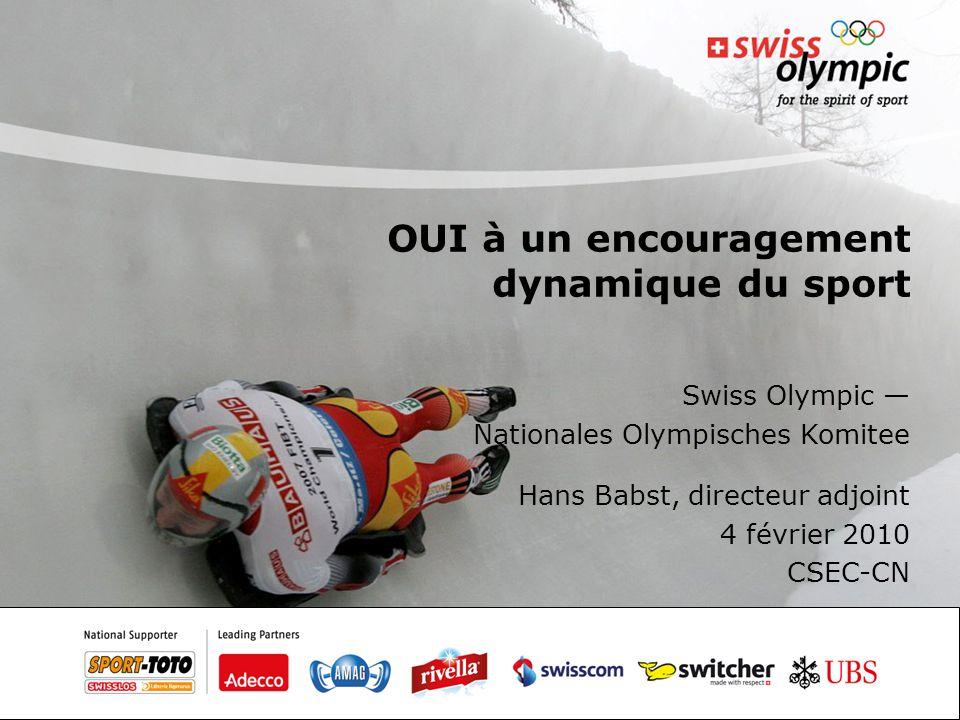 OUI à un encouragement dynamique du sport Swiss Olympic — Nationales Olympisches Komitee Hans Babst, directeur adjoint 4 février 2010 CSEC-CN