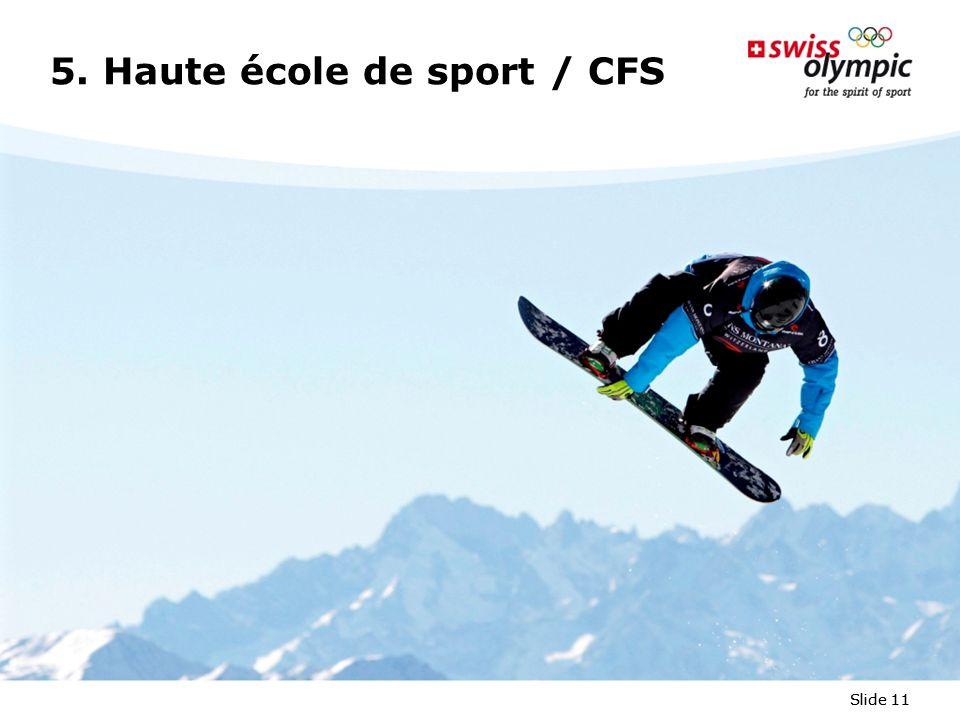 Slide 11 5. Haute école de sport / CFS