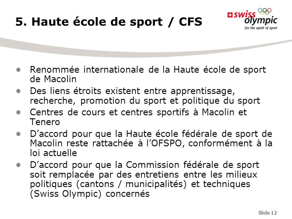 Slide 12 5. Haute école de sport / CFS Renommée internationale de la Haute école de sport de Macolin Des liens étroits existent entre apprentissage, r