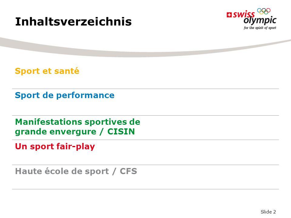 Slide 2 Inhaltsverzeichnis Sport et santé Sport de performance Manifestations sportives de grande envergure / CISIN Un sport fair-play Haute école de