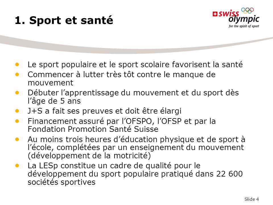 Slide 4 1. Sport et santé Le sport populaire et le sport scolaire favorisent la santé Commencer à lutter très tôt contre le manque de mouvement Débute