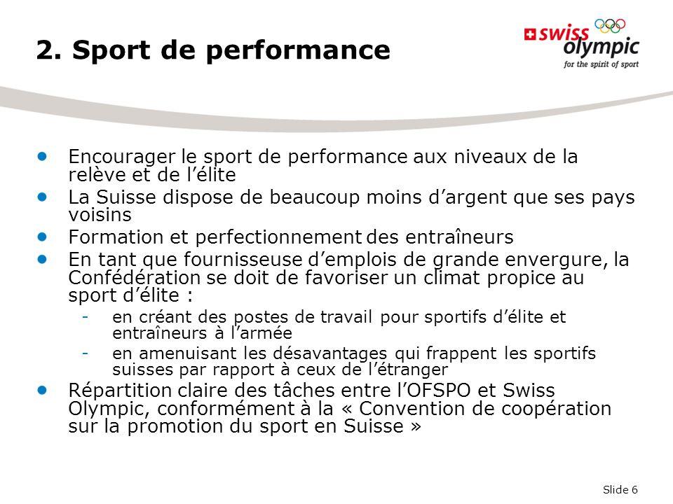 Slide 6 2. Sport de performance Encourager le sport de performance aux niveaux de la relève et de l'élite La Suisse dispose de beaucoup moins d'argent